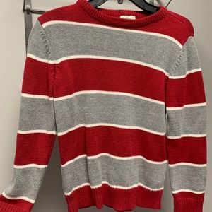 Children's Place -Boys red & gray striped sweater